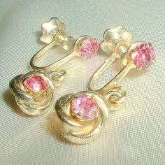 Vintage Pink Rhinestone Drop Earrings by BorrowedTimes on Etsy