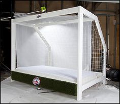 Keen young goalie at home? This is an amazing bed frame concept for a budding National keeper.
