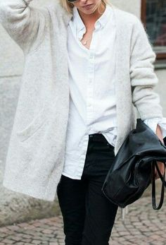 """white shirt"", sweater, white shirts, outfit, street styles, cardigan white chic, buttons, black jeans, black pants"