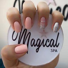 Sns Nails Colors, Neutral Nails, Bling Nails, Glitter Nails, Cute Nails, Pretty Nails, Blush Pink Nails, Nail Tip Designs, Work Nails