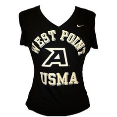 """Nike Women's Bold V-Neck Tee    50% Cotton, 50% Polyester. Black with """"WEST POINT"""" in gold over """"A"""" over """"USMA"""" in gold, center chest."""
