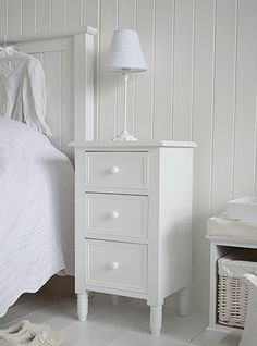 Simple white bedside cabinet with drawers. New England, Scandi, Danish and French style bedroom furniture from The White Lighthouse White Bedroom Furniture, Furniture Decor, Bedroom Decor, Nordic Furniture, Bedroom Table, Furniture Stores, Home Design, White Bedside Cabinets, Bedside Drawers