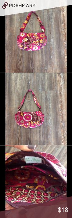 Small Vera Bradley Purse! Mini Pink/Magenta Purse Like new Vera Bradley Mini Purse!! Two small pockets on the inside of the purse to hold cell phones or any small items you may have!! Also has two pockets on the outside of the purse for quick access to a cell phone. Vera Bradley Bags Mini Bags