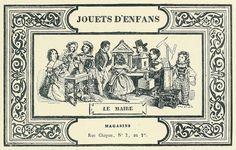 Jouets D'Enfans-Toys for Children    From Les Menus & Programmes Illustrés - Invitations - Billets de Faire-Part - Cartes d'Adresses - Petites Estampes du XVIIème Siècle jusqu'à nos jours.    By Léon Maillard. Published 1898 by G. Boudet, Paris.