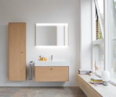 """Duravit and designer Christian Werner created bathroom furniture - """"Brioso"""", representing relaxation, freshness, and joie de vivre in a contemporary bathroom interior. Bathroom Furniture Design, Bathroom Interior, Bathroom Ideas, Duravit, Mini Bad, Cabinet Trim, Lacquer Furniture, Mirror Cabinets, Vanity Units"""