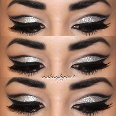 Silver glitter eye cut crease