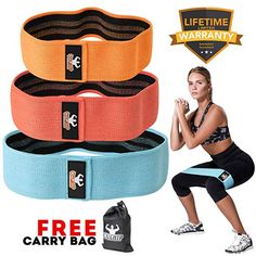 """Resistance Exercise Bands For Legs Butt, Hip Booty Wide Workout Loop Anti Slip """" Resistance Band Loop Exercises, Resistance Bands With Handles, Best Resistance Bands, Resistance Workout, Leg Workout With Bands, Hip Workout, Exercise Bands, Glute Bands, Fitness Gifts"""
