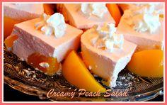 Creamy Peach Salad, easy - Peach Jello, cream cheese, peaches, crushed p. Jello Desserts, Jello Recipes, Dessert Salads, Dessert Recipes, Fruit Salads, Orange Jello Salads, Salad Recipes, Peach Jello, Deserts