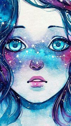 ideas eye wallpaper drawings for 2019 Fantasy Kunst, Fantasy Art, Pretty Art, Cute Art, Galaxy Art, Galaxy Anime, Anime Art Girl, Cute Drawings, Kawaii Girl Drawings