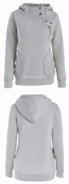 Pockets Inclined Zipper Long Sleeve Pullover Hoodie