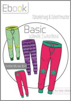 Ebook schmale Basic Hose Kids - Schnittmuster und Anleitung als PDF, versandkostenfrei
