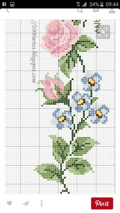 Tiny Cross Stitch, Cross Stitch Letters, Cross Stitch Flowers, Bead Loom Patterns, Stitch Patterns, Cross Stitching, Cross Stitch Embroidery, Blue Nose Friends, Sewing Stitches