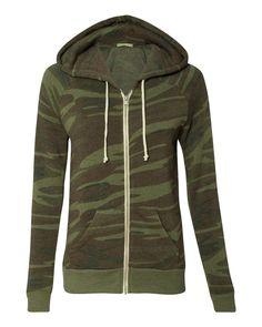 Alternative - Ladies' Eco-Fleece Adrian Full-Zip Hooded Sweatshirt - 9573 Camo