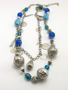 blue beads mixed with silver charms and chains  #indiverve  #necklace