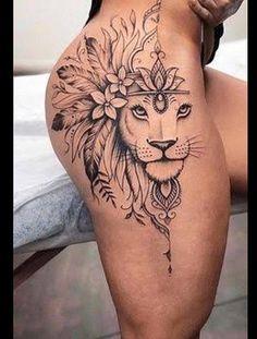 Thigh Tattoos For Girls, Female Hip Tattoos, Lion Tattoo On Thigh, Hip Thigh Tattoos, Dope Tattoos For Women, Leg Tattoos Women, Badass Tattoos, Rose Rib Tattoos, Dainty Tattoos