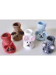 Animal Baby Booties crochet pattern from Annie's Craft Store. Crochet Baby Shoes, Crochet Baby Clothes, Crochet Slippers, Cute Crochet, Crochet For Kids, Crochet Crafts, Crochet Projects, Bunny Slippers, Easy Crochet
