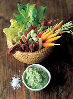 Cool crudite veggies with a minted pea & yoghurt dip A fresh and light sharer Pick your favourite veggies, whiz together this super-fresh homemade dip and get dunking