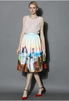 New Swan Stone Castle Pleated Midi Skirt - Retro, Indie and Unique Fashion