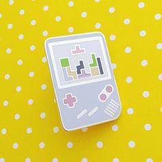 Pastel Gameboy Tetris Enamel Lapel Pin Badge | hand over your fairy cakes