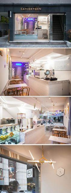 [No.155 옥시즌] 언주역 8평 모던 빈티지 카페 인테리어, 강남, 네온사인, 예쁜조명 Restaurant Design, Restaurant Bar, Cafe Interior, Interior Design, Juice Cafe, Tiny Shop, Coffee Cafe, Coffee Shops, Zen Style