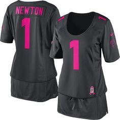 Women s Nike Carolina Panthers  1 Cam Newton Elite Dark Grey Breast Cancer  Awareness NFL Jersey c2e51d2920
