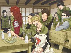 Naruto, Shikamaru, Kiba e Akamaru, Shino, Rock Lee, Chouji, Neji e Sai :)