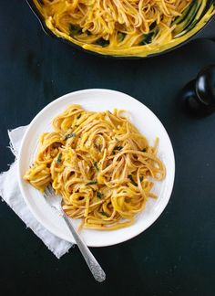 Creamy (vegan!) butternut squash linguine with fried sage recipe - cookieandkate.com