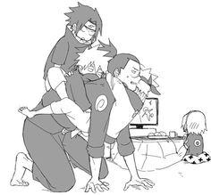 Poor iruka jesus Guys let him go Naruto Kakashi, Anime Naruto, Naruto Team 7, Naruto Comic, Naruto Cute, Naruto Shippuden Anime, Boruto, Naruto's Dad, Sakura E Sasuke