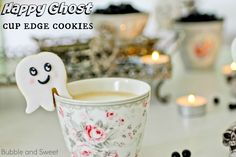 Happy ghost cup edge cookies for Halloween