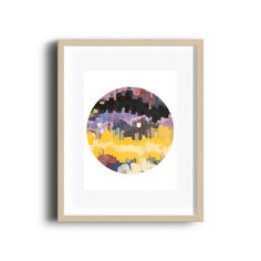 Minimalist purple and yellow art print colorful by HAYNEUE on Etsy