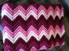 Vintage Multicolored Shades of Pink Afghan Zag Zag