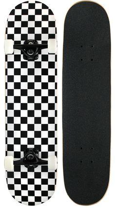 KPC Pro Skateboard Complete, Black and White Checker Penny Skateboard, Painted Skateboard, Skateboard Deck Art, Skateboard Parts, Skateboard Design, Skateboard Girl, Skate Logo, Skate Vans, Pro Skateboards