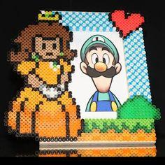 Princess Daisy  Super Mario photo frame perler beads by joshua_mzn