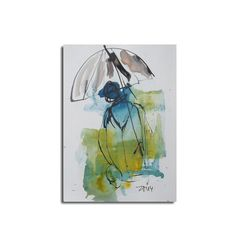 Rain  Umbrella   Original Drawing with colored by Kunstmuellerei, €17.00