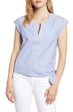 Women's Vineyard Vines Skiff Stripe Side Tie Top, Size 8 - Blue Cap sleeves and a cute hip tie make this striped stretch-cotton top utterly charming. Style Name:Vineyard Vines Skiff Stripe Side Tie Top. Blouse Styles, Blouse Designs, Sewing Blouses, Denim Cutoff Shorts, Wide Leg Denim, Shirt Blouses, Shirts, Cute Tops, Dress Patterns