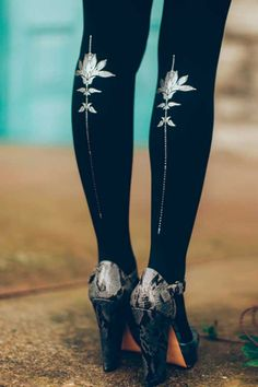 """Lili Rose"" Floral Tattoo Tights #trendylegs #tights #fashion"