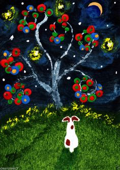Jack Russell Terrier Parson Rat Dog ACEO tree Folk Art PRINT Todd Young painting #OutsiderArt