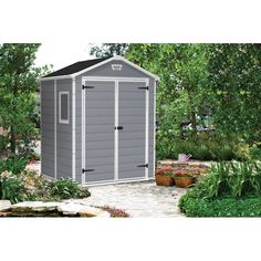Keter Manor 6 Ft. W x 5 Ft. D Apex Plastic Tool Shed & Reviews | Wayfair.co.uk Storage Shed Organization, Garden Storage Shed, Outdoor Storage Sheds, Storage Shed Plans, Diy Shed, Smart Storage, Garden Sheds, Tool Storage, Diy Storage