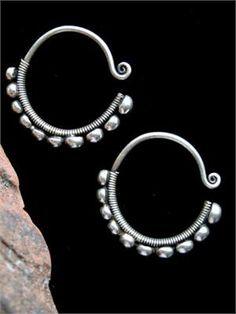 Hmong Contemporary Tribal Semi-Globe Hoop Earrings