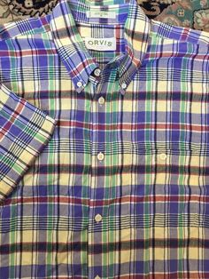 d478d9c6c6b41c Men ORVIS Blue Yellow Green White Red Plaid X-Large Shirt S S