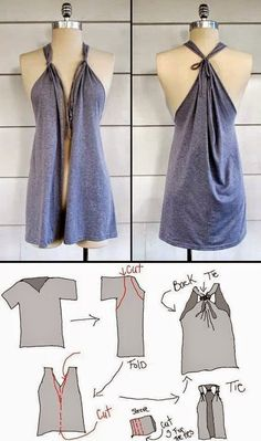 DIY Roundup: 7 Fun, Summer DIY Fashion Ideas Summer is here so show off your sizzling sense of summer style! Get crafty with these fun & easy, summer DIY fashion ideas! Diy Clothes Refashion, Diy Clothing, Sewing Clothes, Shirt Refashion, Sew Tshirt, Diy Tshirt Dress, Refashioned Clothes, Making Clothes From Old Clothes, Diy Clothes Hacks