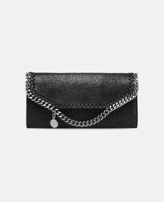 Black Falabella Shaggy Deer Continental Wallet - Stella Mccartney  5e8cf8ad7c90a