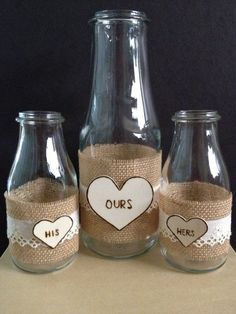 Wedding Sand Ceremony Set Vintage Decorated With by DesignsByHuuR Wedding Sand, Wedding Vows, Rustic Wedding, Our Wedding, Dream Wedding, Wedding Stuff, Starbucks Bottles, Wedding Bottles, Sand Ceremony