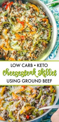Low Carb Cheesesteak Skillet using Ground Beef in only 30 minutes! Low Carb Cheesesteak Skillet using Ground Beef in only 30 minutes!,* Keto Low Carb Dinner Recipes * Low Carb Cheesesteak Skillet using Ground. Low Carb Diets, Cena Keto, Comida Keto, Diet Recipes, Healthy Recipes, Recipies, Easy Low Carb Recipes, Low Carb Dinner Recipes, Food Dinners