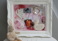 Bespoke memory frame/shadow box artworks displaying keepsakes, mementoes and treasures. Perfect present for a wedding, new baby, special occasion or anniversary.