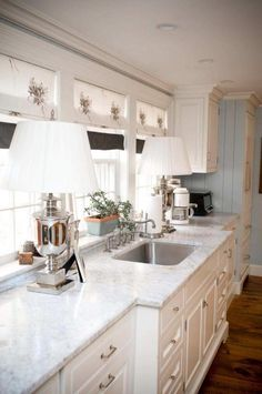 Kitchen Amusing White Sink Granite Countertop Lamps Table Wooden Floor Design Curtain Ideas