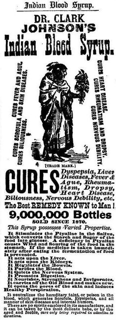 Dr. Clark Johnson's Indian Blood Syrup advertisement in the Washington Post - February 3rd, 1881.