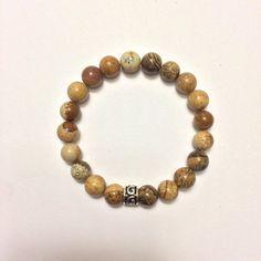 Genuine Picture Jasper w/ a Sterling Silver Charm Bracelet ~ Meditation & Clearing