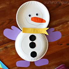 Cute Paper Plate Snowman Craft for Kids party idea