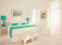 White And Turquoise Bedroom.